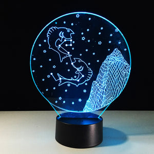 Pisces Horoscope 3D Optical Illusion Lamp - 3D Optical Lamp