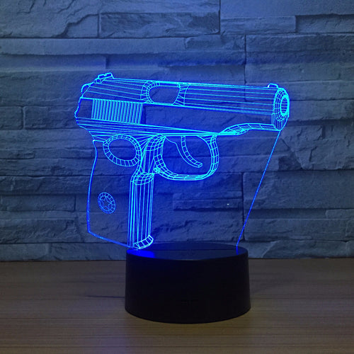 Abstract Handgun 3D Optical Illusion Lamp - 3D Optical Lamp