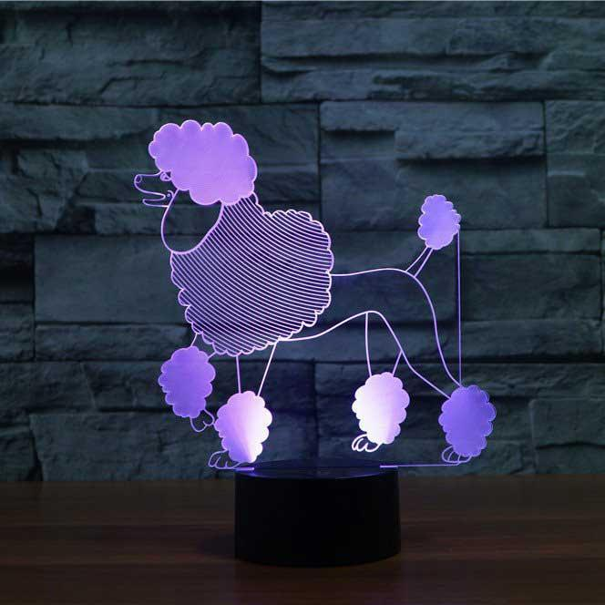 Poodle 3D Optical Illusion Lamp - 3D Optical Lamp