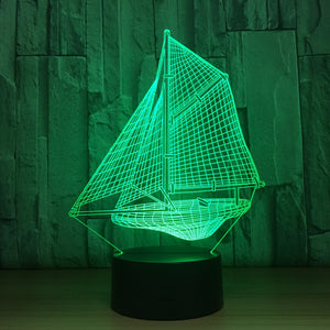 Sailboat 3D Optical Illusion Lamp - 3D Optical Lamp