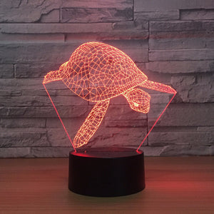 Adorable Turtle 3D Optical Illusion Lamp - 3D Optical Lamp