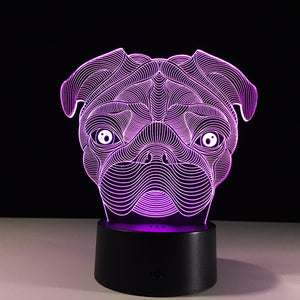Shar Pei Dog 3D Optical Illusion Lamp - 3D Optical Lamp