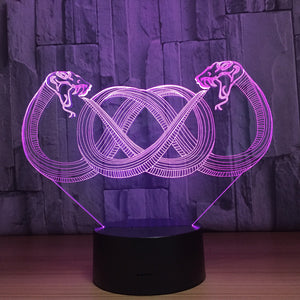 Double Snakes 3D Optical Illusion Lamp - 3D Optical Lamp