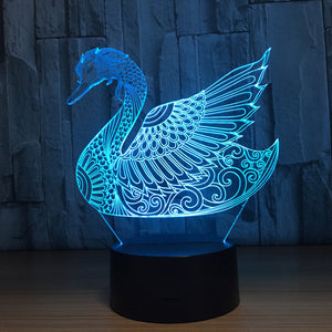 Abstract Swan 3D Optical Illusion Lamp - 3D Optical Lamp