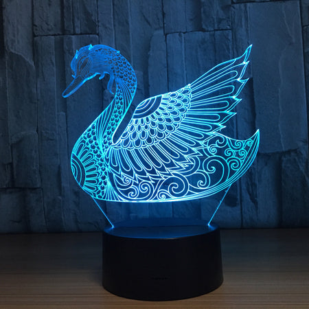 Abstract Swan 3D Optical Illusion Lamp