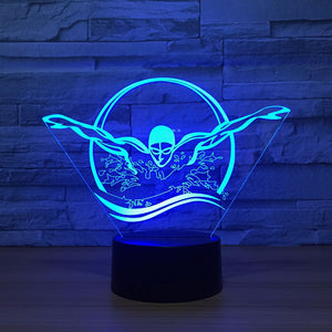 Swimming Butterfly Stroke 3D Optical Illusion Lamp - 3D Optical Lamp