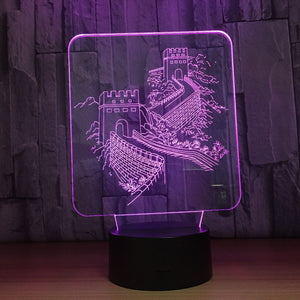 Great Wall 3D Optical Illusion Lamp - 3D Optical Lamp