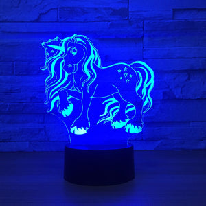 Lovely Unicorn 3D Optical Illusion Lamp - 3D Optical Lamp