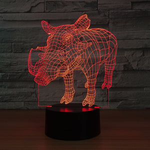 Wild Pig 3D Optical Illusion Lamp - 3D Optical Lamp