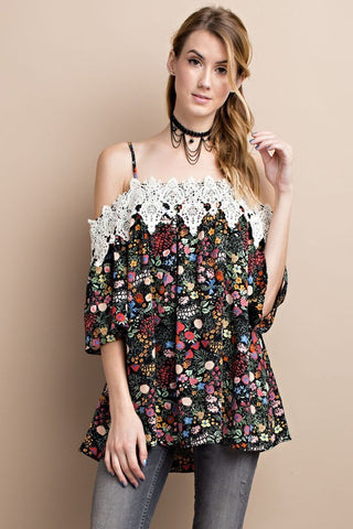 Floral Crepe Cold Shoulder-Black