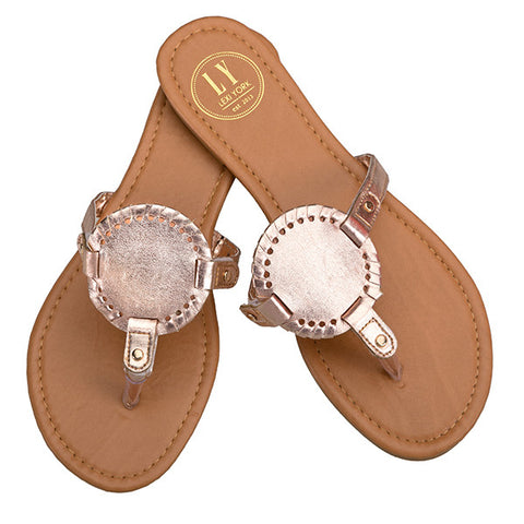 Monogrammable Sandals: Shiny Rose Gold