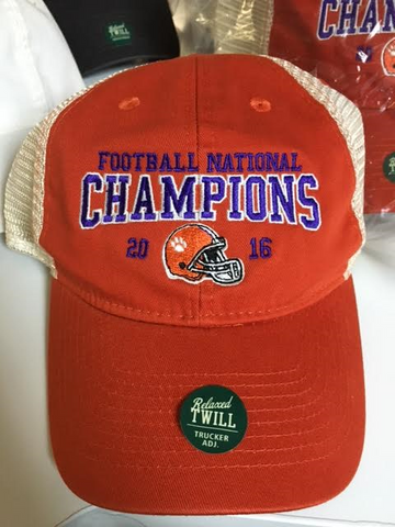 Clemson National Championship Hat-Mandarin Orange Trucker