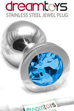 Stainless Steel Jewel Butt Plug Large - Blue Sapphire
