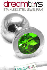 Stainless Steel Jewel Butt Plug Large - Emerald Green