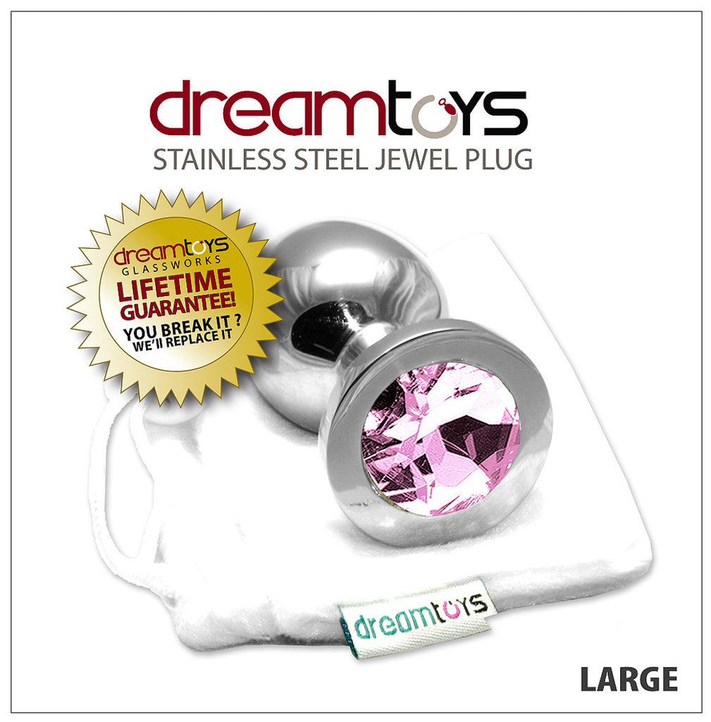Stainless Steel Jewel Butt Plug Large - Pink Diamond