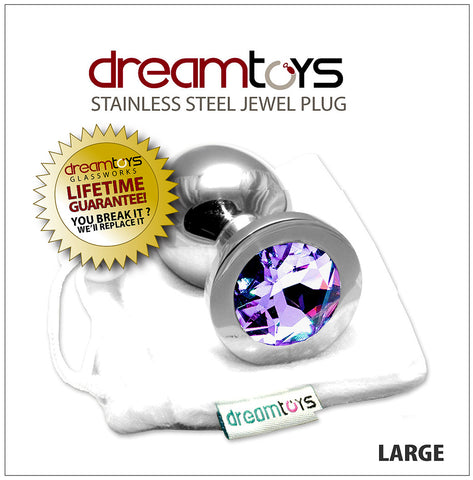 Stainless Steel Jewel Butt Plug Large - Amethyst Purple