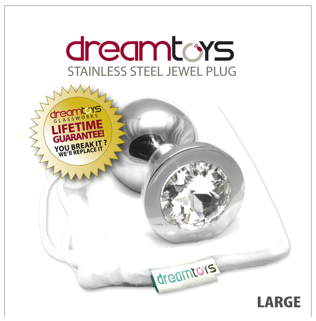 Stainless Steel Jewel Butt Plug Large - Diamond