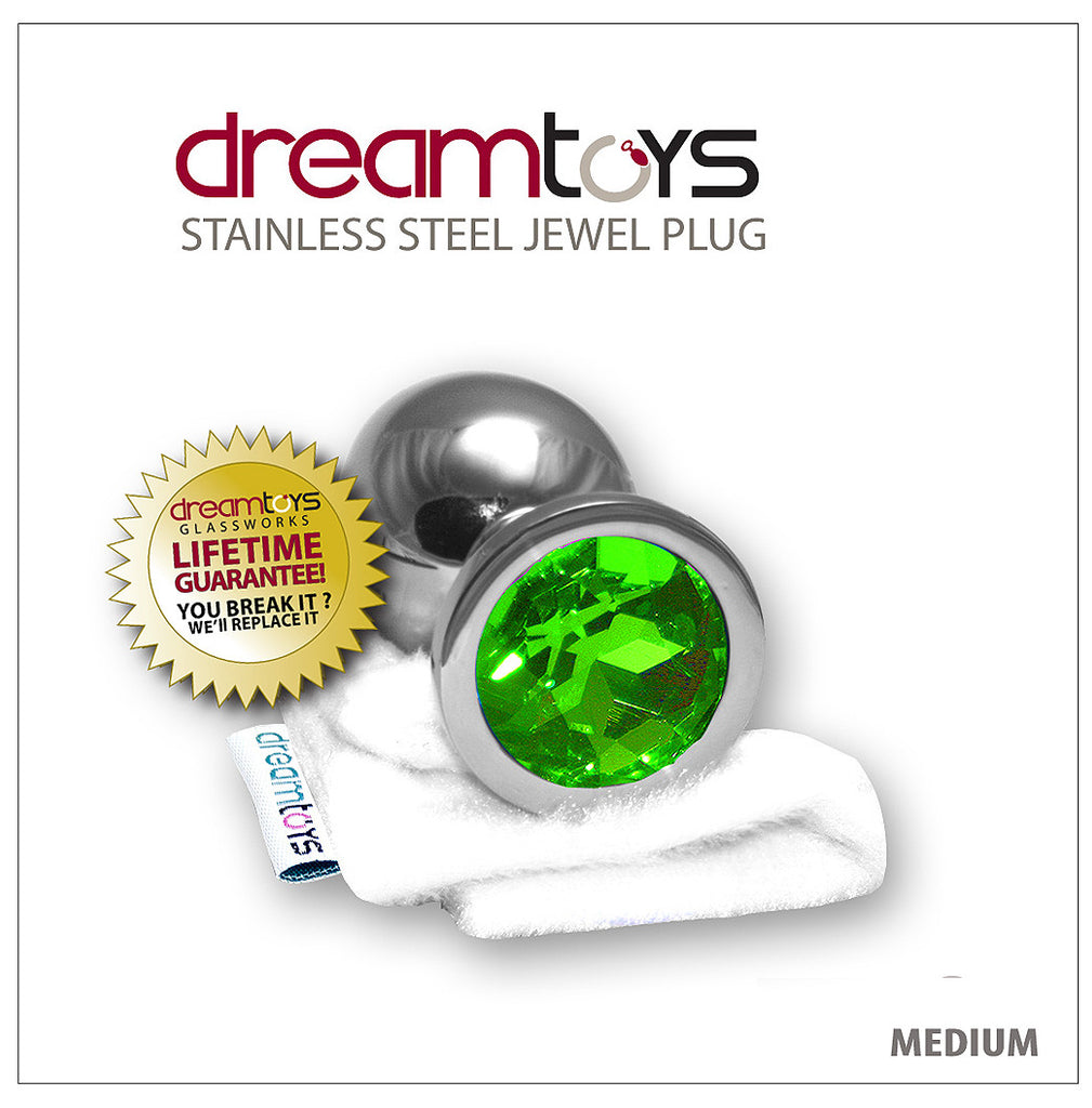 Stainless Steel Jewel Butt Plug Medium - Emerald Green  Dreamtoys Canada-5882