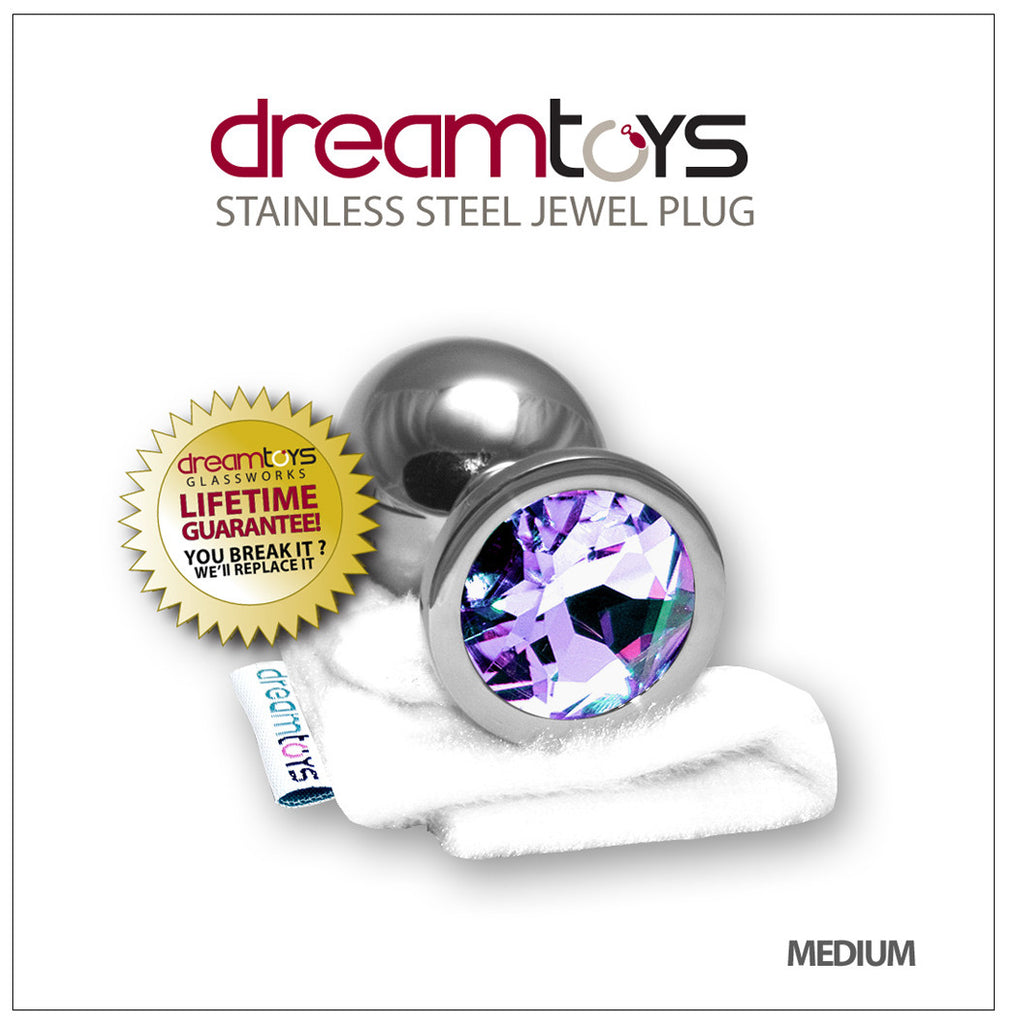 Stainless Steel Jewel Butt Plug Medium - Amethyst Purple