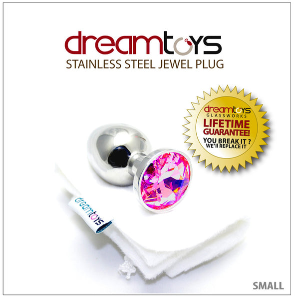 Stainless Steel Jewel Butt Plug Small - Pink Sapphire
