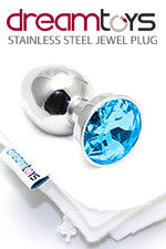 Stainless Steel Jewel Butt Plug Small - Blue Sapphire