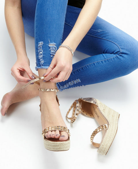 'Iris' Espadrille Rose Gold Wedge Sandals