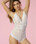 Kylie White Lace Cross Back Bodysuit