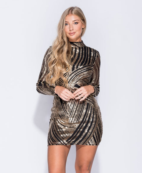Black & Gold Sequin Bodycon Dress | Oopsie