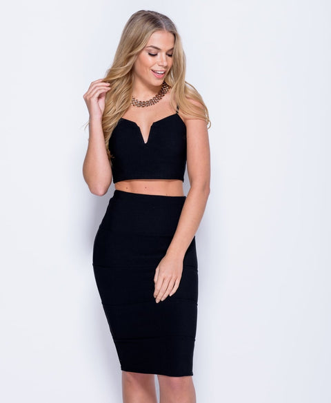 'Phoenix' Bralet Crop Top & Midi Skirt Co Ord Set | Oopsie