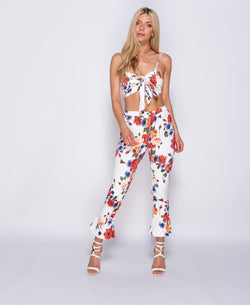 Sienna Flower Printed Bow Front Bra Top & Trousers