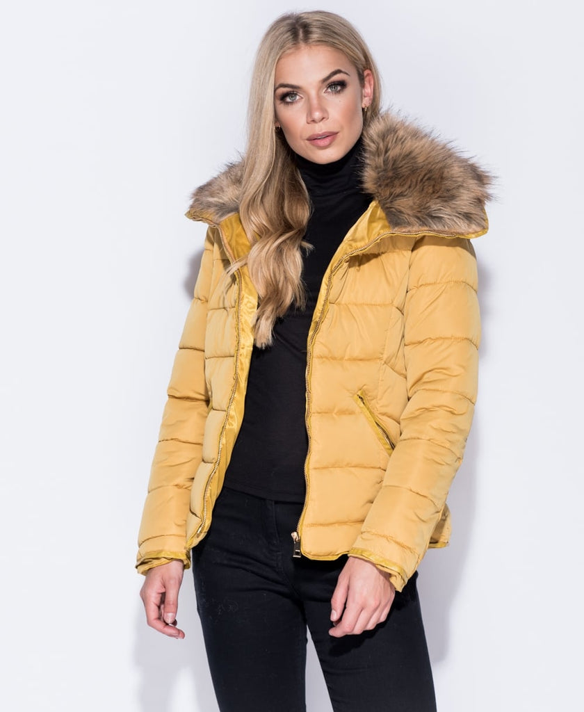 Maya Fur Collar Zip Detail Puffa Jacket | Oopsie