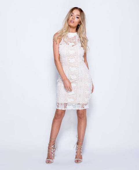 'Giana' High Neck Sleeveless Flower Lace Dress | Oopsie