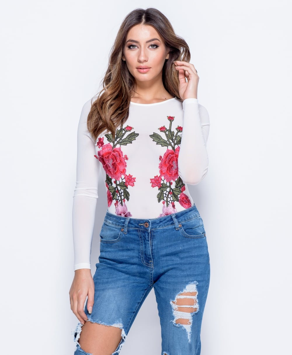 Mesh Floral Embroidered Patch Bodysuit