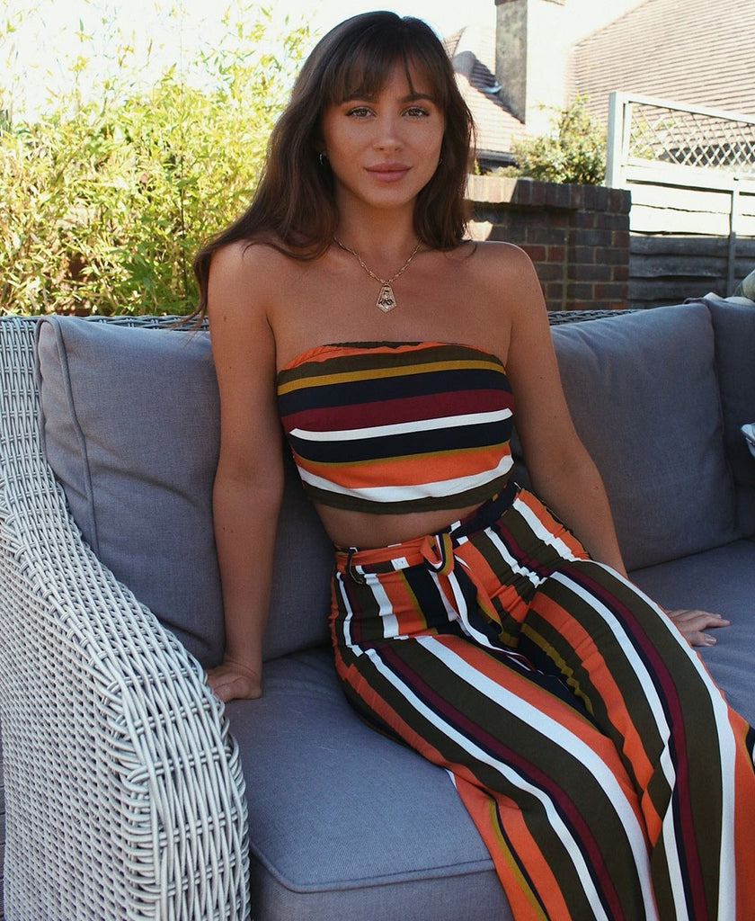 Multi Stripe Wide Leg Trouser & Bandeau Top Set | Oopsie