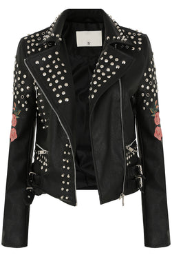 Black Floral Embroidered PU Jacket with Studs