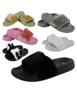 Oopsie Black Faux Fur Sliders