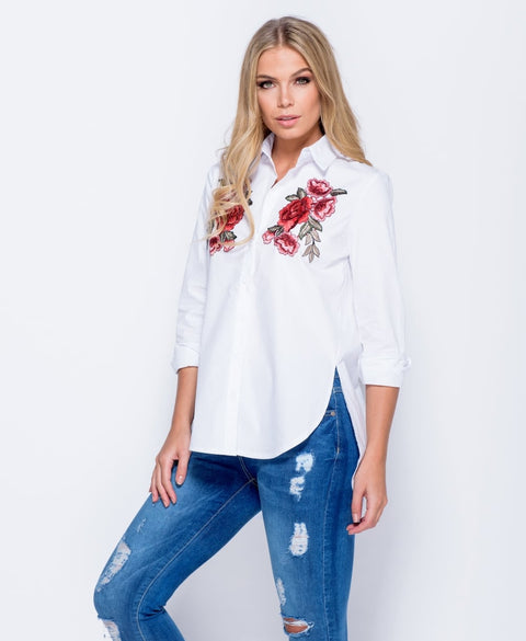'Bailey' Embroidered Patch Button Front Shirt