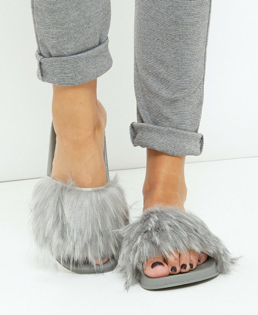 'Paloma' Grey Long Faux Fur Sliders | Oopsie