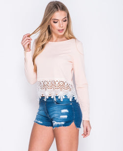 Lace Hem Long Sleeve Crop Top