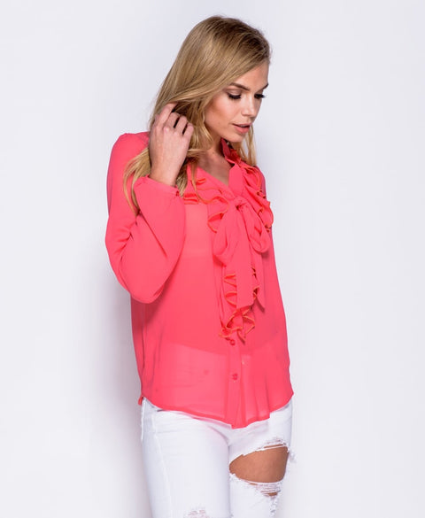 'Annalise' Ruffle Front Tie Detail Blouse