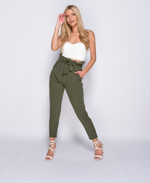 Khaki 'Addison' Paperbag Waist Belted Crop Trousers | Oopsie