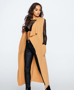 Sleeveless Wrap Longline Waterfall Coat