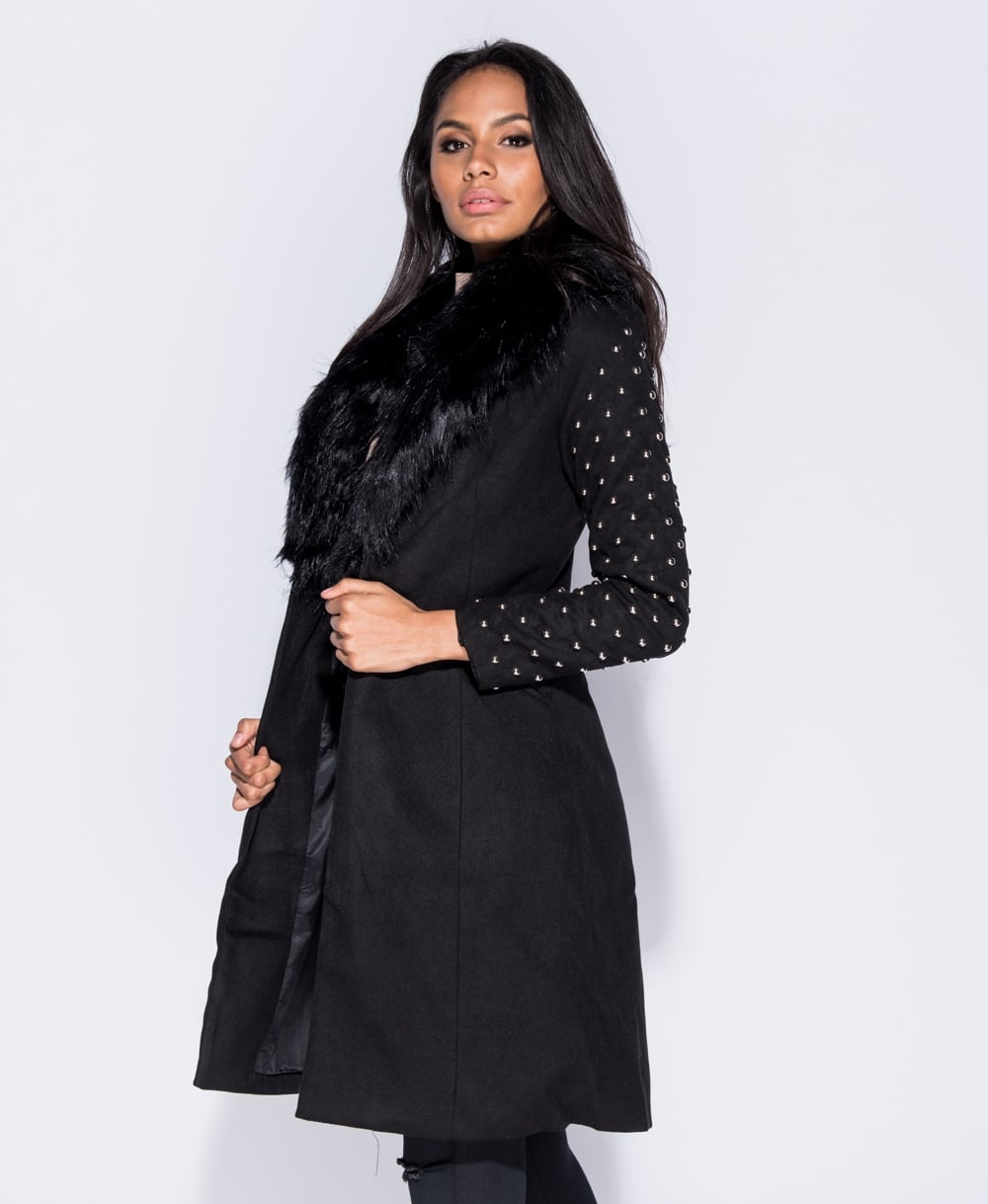Studded Sleeve Faux Fur Long Jacket