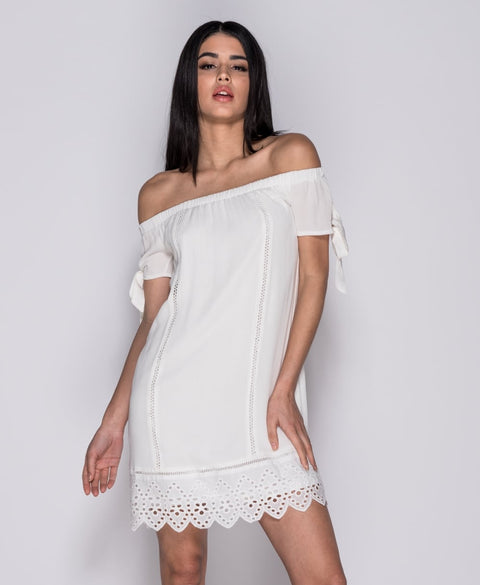 White Broderie Lace Trim Bardot Dress | Oopsie