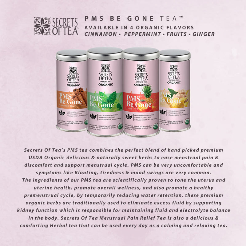 PMS Be Gone Tea- Ginger Flavor- USDA Organic- Up To 40 Servings