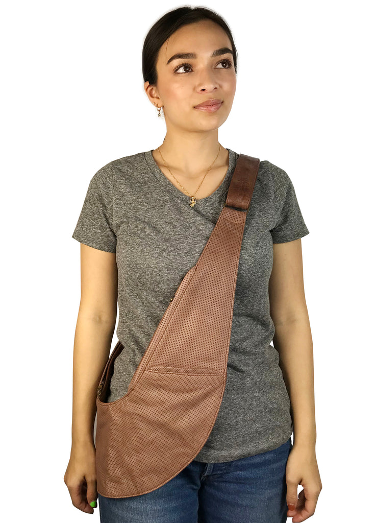 Cafe Au Lait Rally Leather Sash Bag
