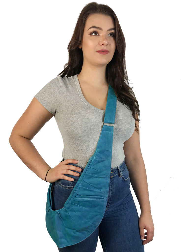 Aqua Genuine Leather Ruche Sash Bag
