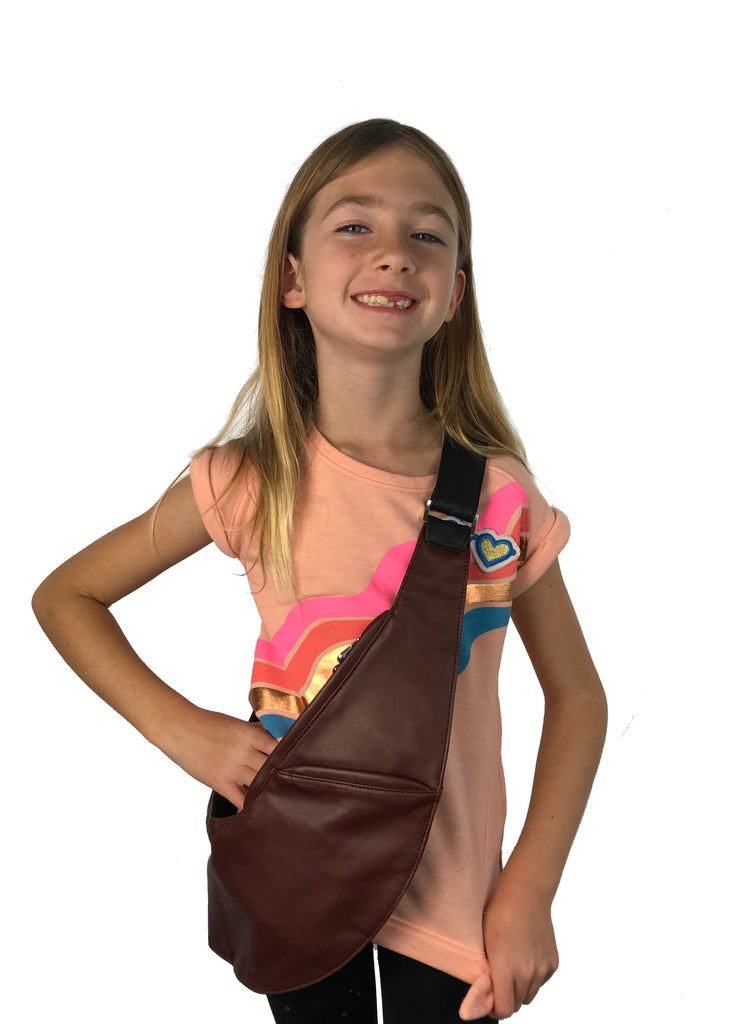 Junior Black/Brown Reversible Classic Faux Sash Bag