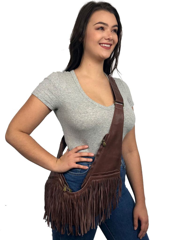 Brown Full Fringe Leather Sash Bag