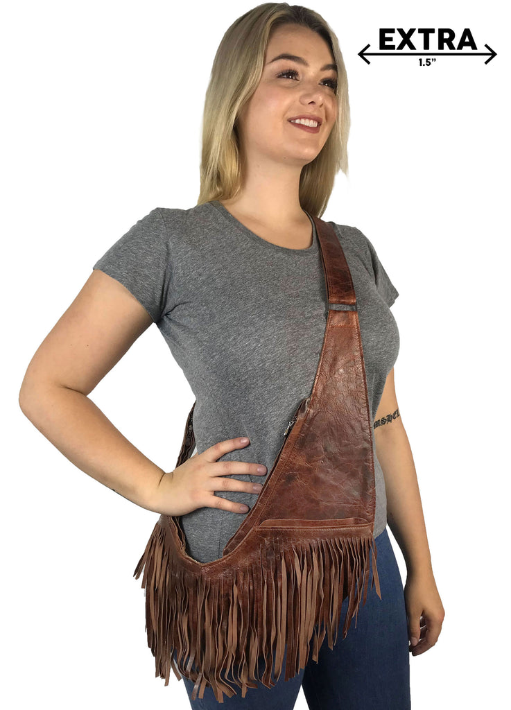 Calico Leather Extra Full Fringe Sash Bag